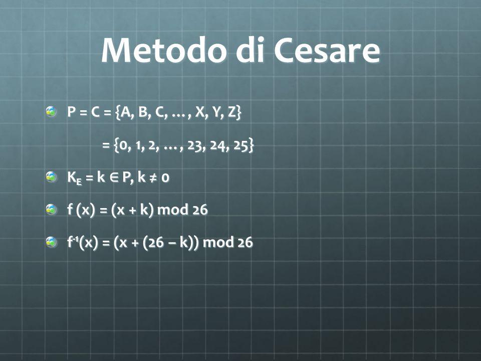 Metodo di Cesare P = C = {A, B, C, …, X, Y, Z}