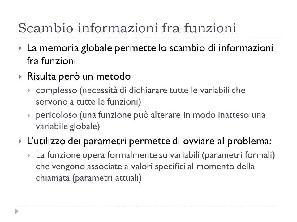 Scambio informazioni fra funzioni