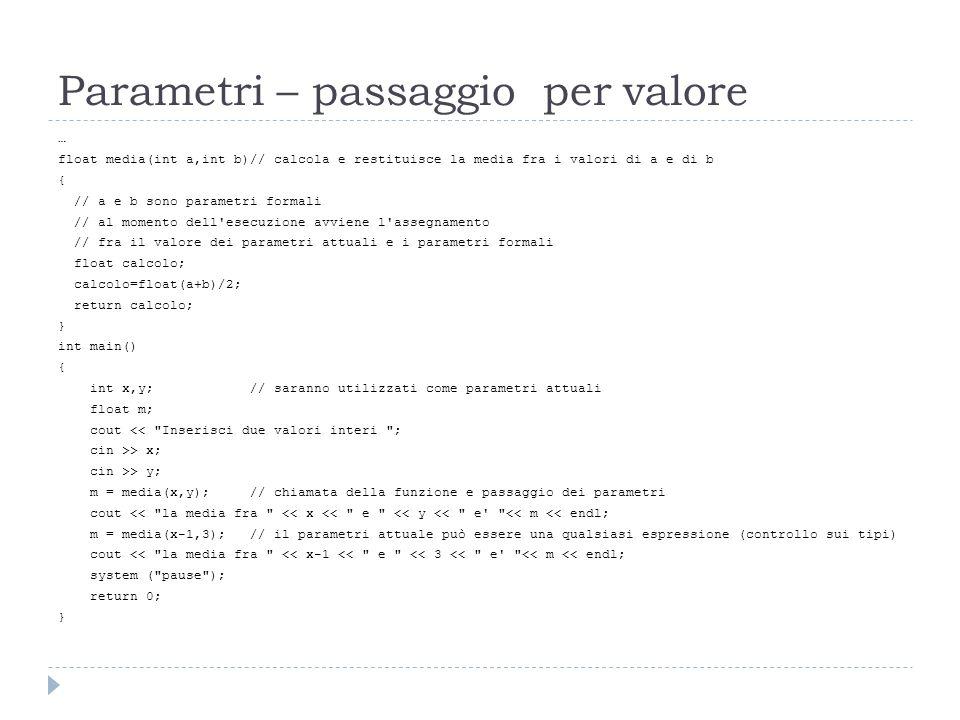 Parametri – passaggio per valore
