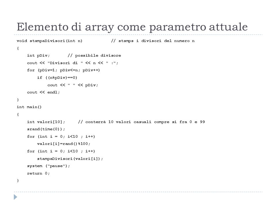 Elemento di array come parametro attuale