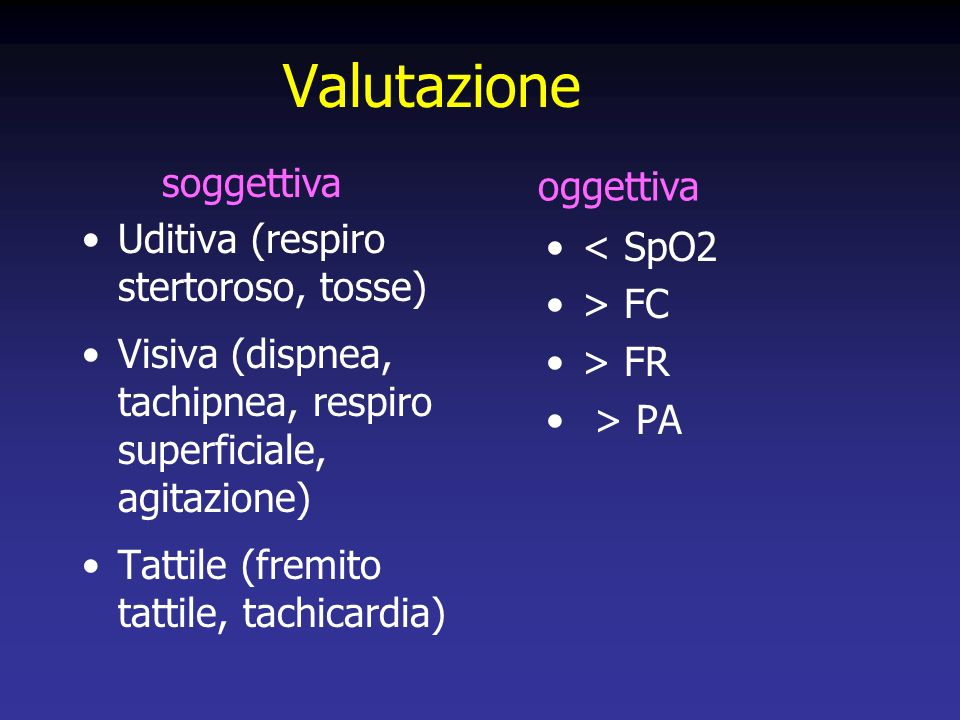 Valutazione soggettiva oggettiva Uditiva (respiro stertoroso, tosse)