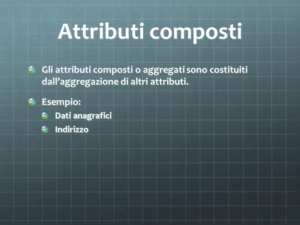 Attributi composti Gli attributi composti o aggregati sono costituiti dall'aggregazione di altri attributi.