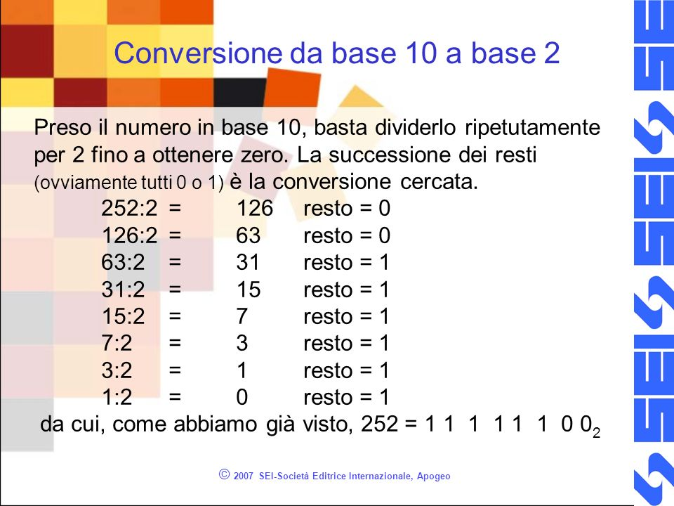 Conversione da base 10 a base 2