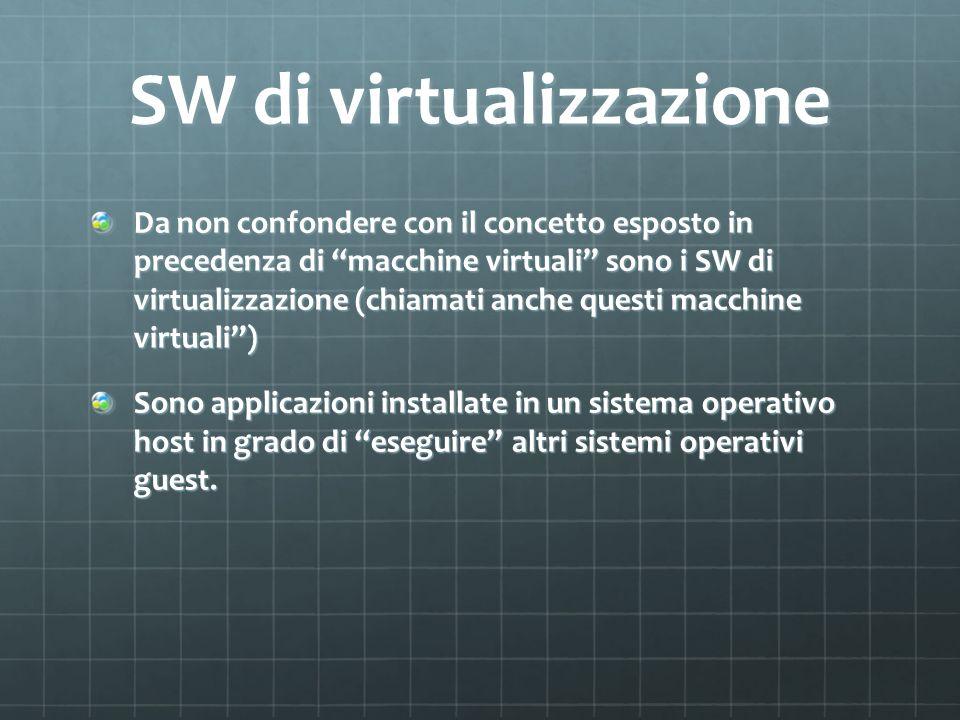 SW di virtualizzazione