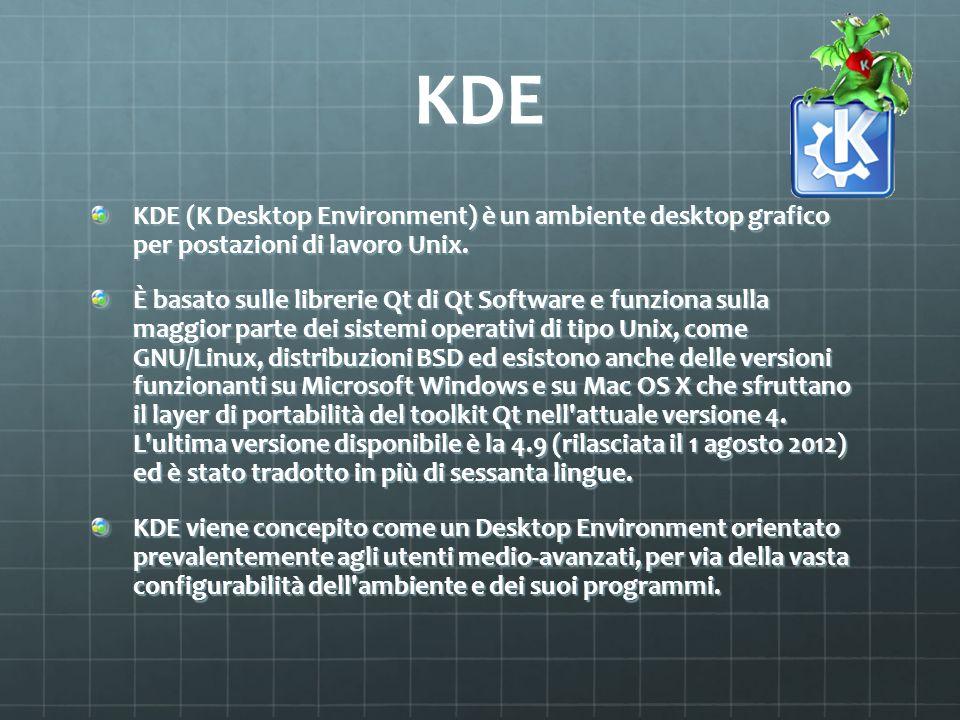 KDE KDE (K Desktop Environment) è un ambiente desktop grafico per postazioni di lavoro Unix.
