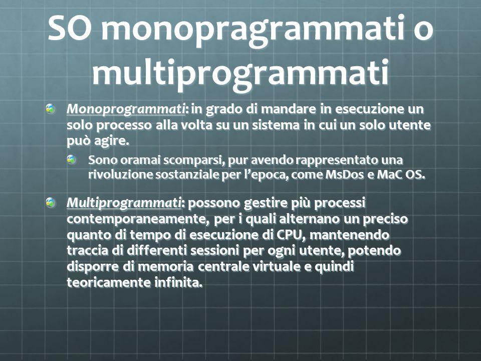 SO monopragrammati o multiprogrammati