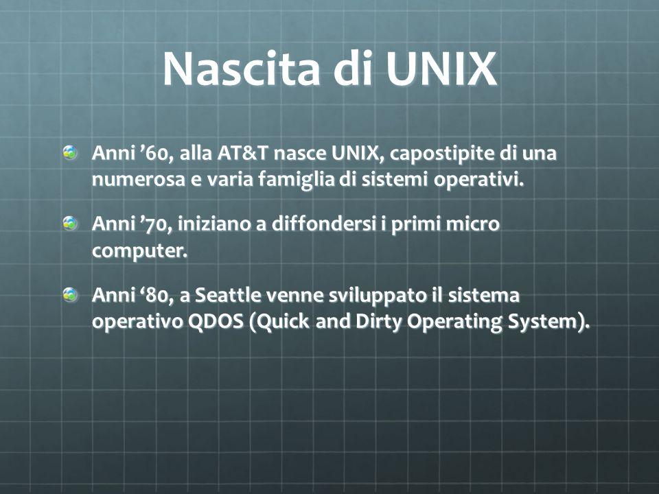 Nascita di UNIX Anni '60, alla AT&T nasce UNIX, capostipite di una numerosa e varia famiglia di sistemi operativi.
