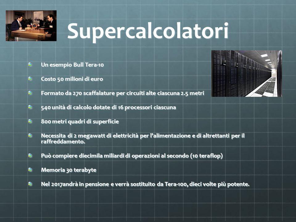 Supercalcolatori Un esempio Bull Tera-10 Costo 50 milioni di euro