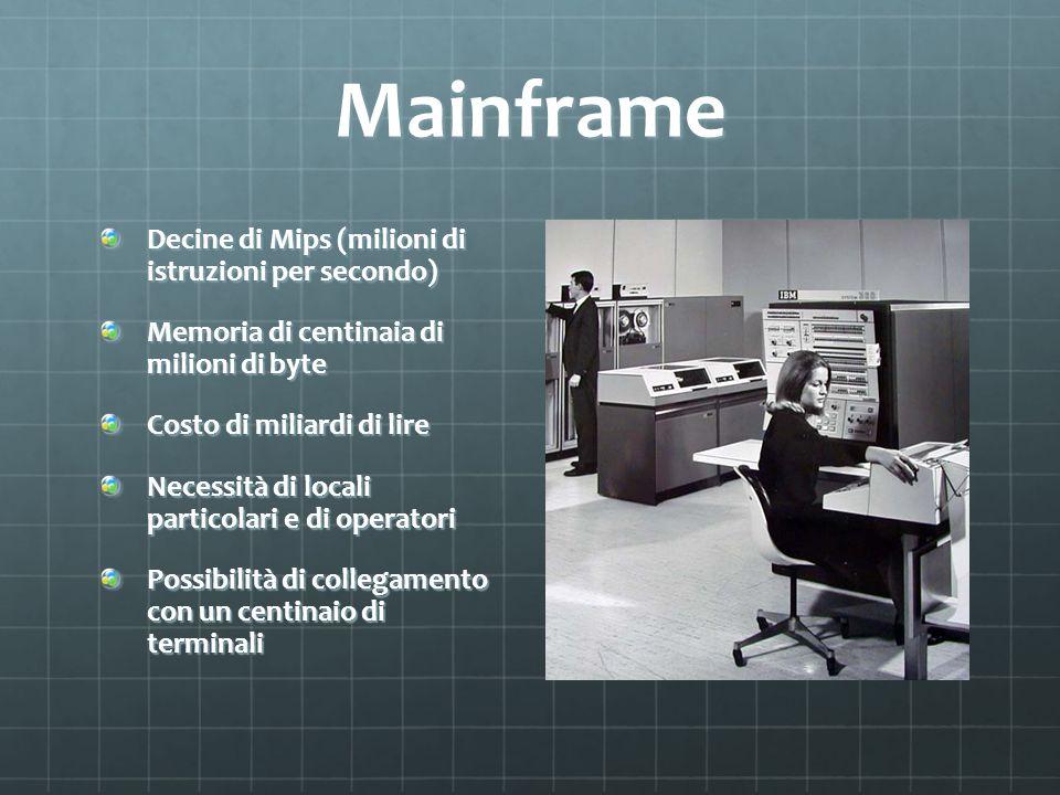 Mainframe Decine di Mips (milioni di istruzioni per secondo)