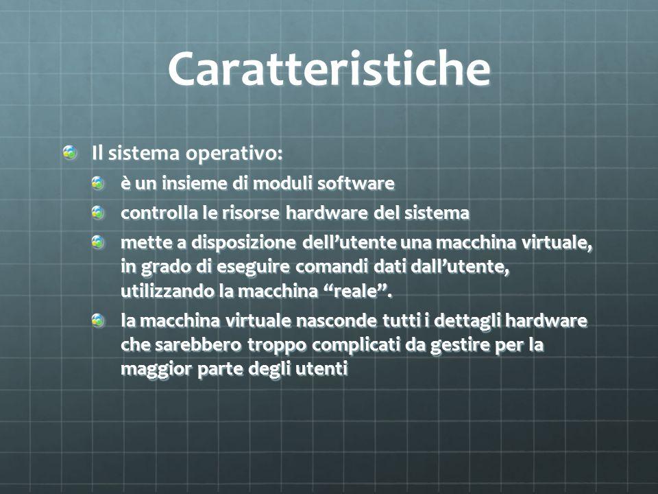 Caratteristiche Il sistema operativo: è un insieme di moduli software