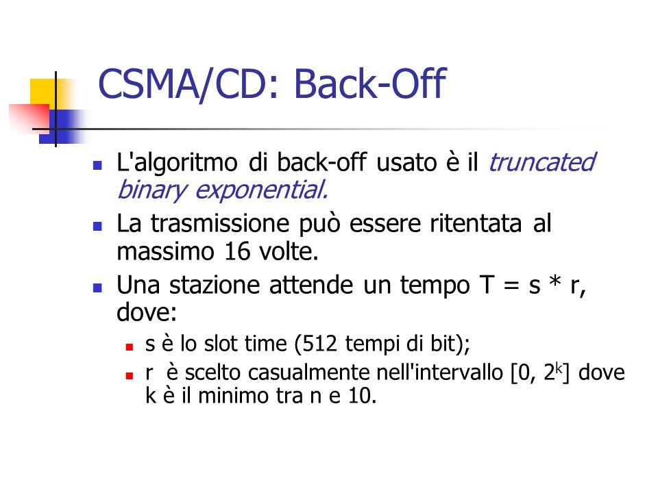 CSMA/CD: Back-Off L algoritmo di back-off usato è il truncated binary exponential. La trasmissione può essere ritentata al massimo 16 volte.