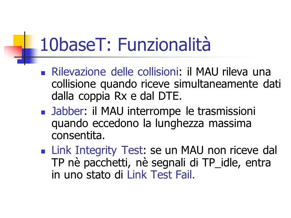 10baseT: Funzionalità Rilevazione delle collisioni: il MAU rileva una collisione quando riceve simultaneamente dati dalla coppia Rx e dal DTE.