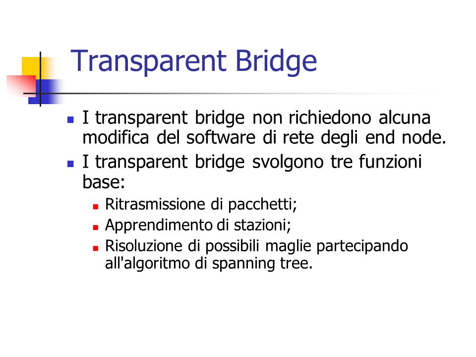 Transparent Bridge I transparent bridge non richiedono alcuna modifica del software di rete degli end node.