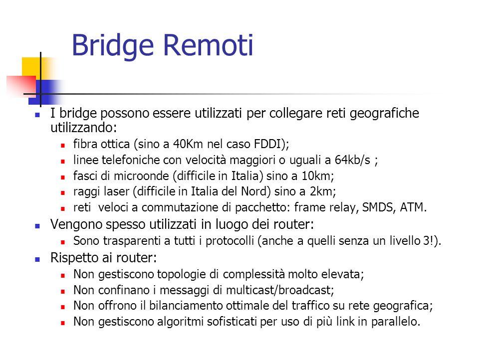 Bridge Remoti I bridge possono essere utilizzati per collegare reti geografiche utilizzando: fibra ottica (sino a 40Km nel caso FDDI);