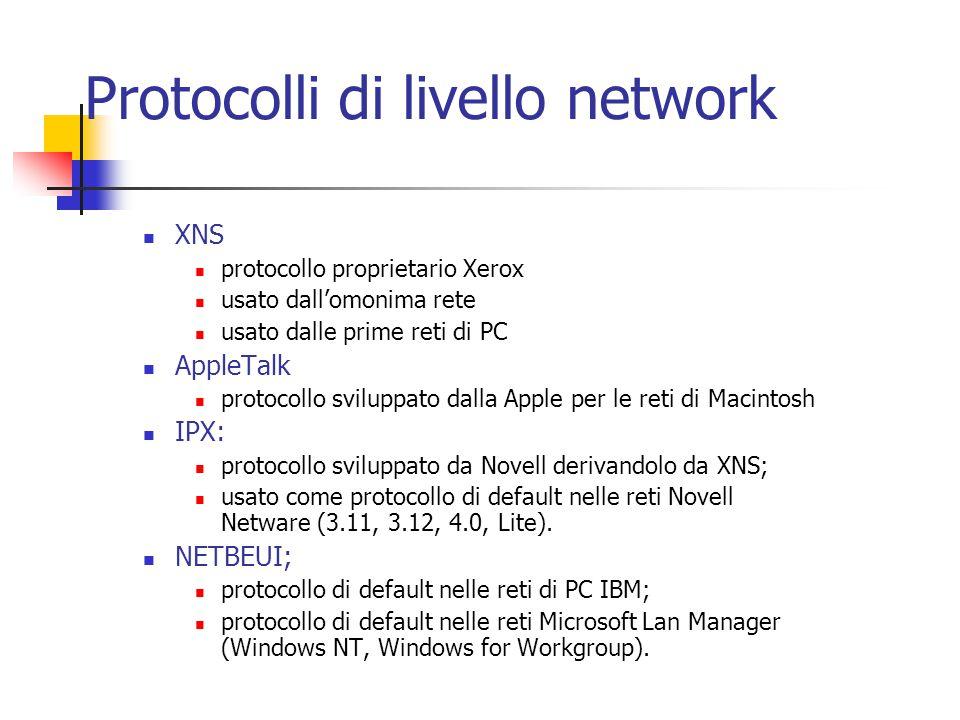 Protocolli di livello network