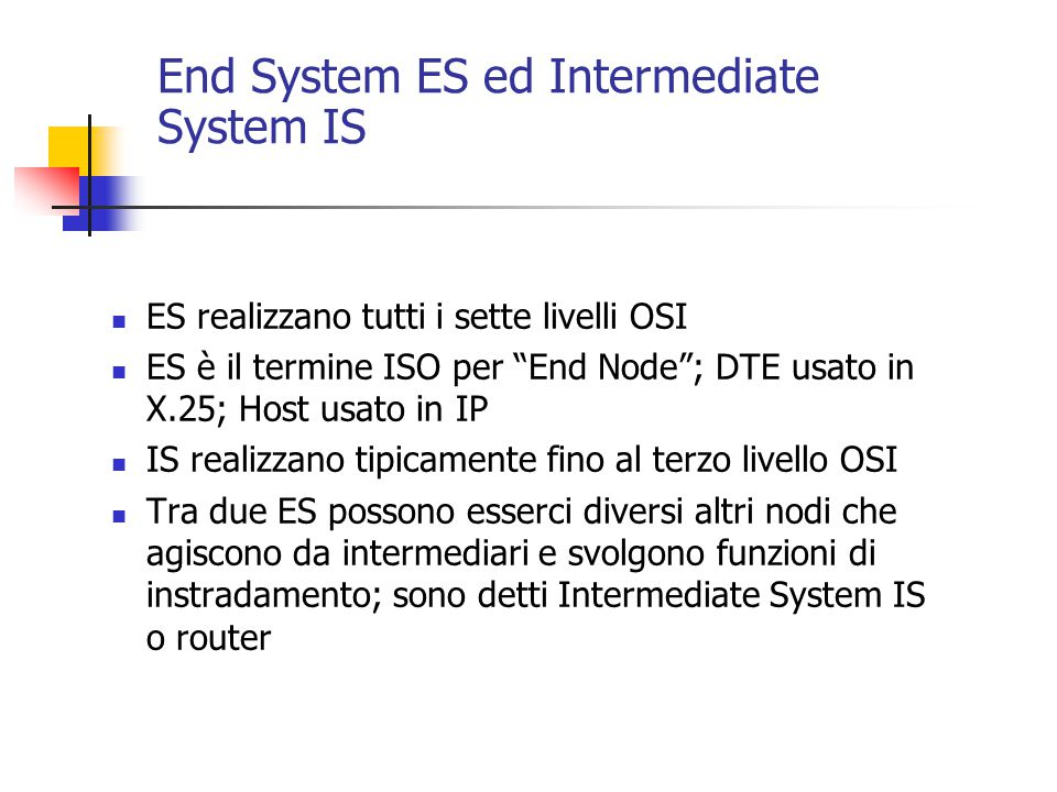 End System ES ed Intermediate System IS