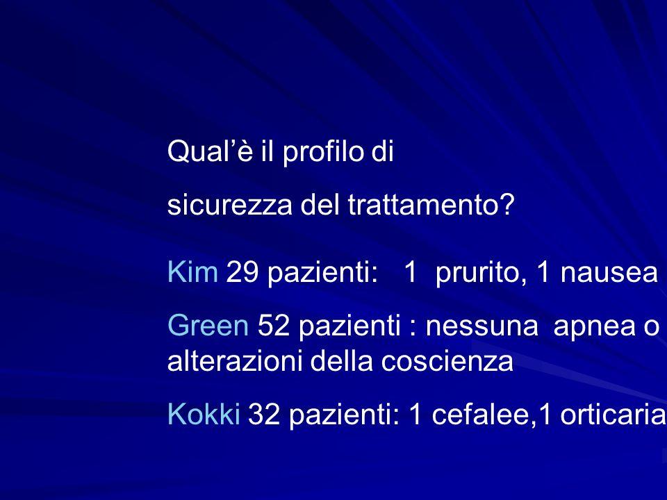 Qual'è il profilo di sicurezza del trattamento Kim 29 pazienti: 1 prurito, 1 nausea.
