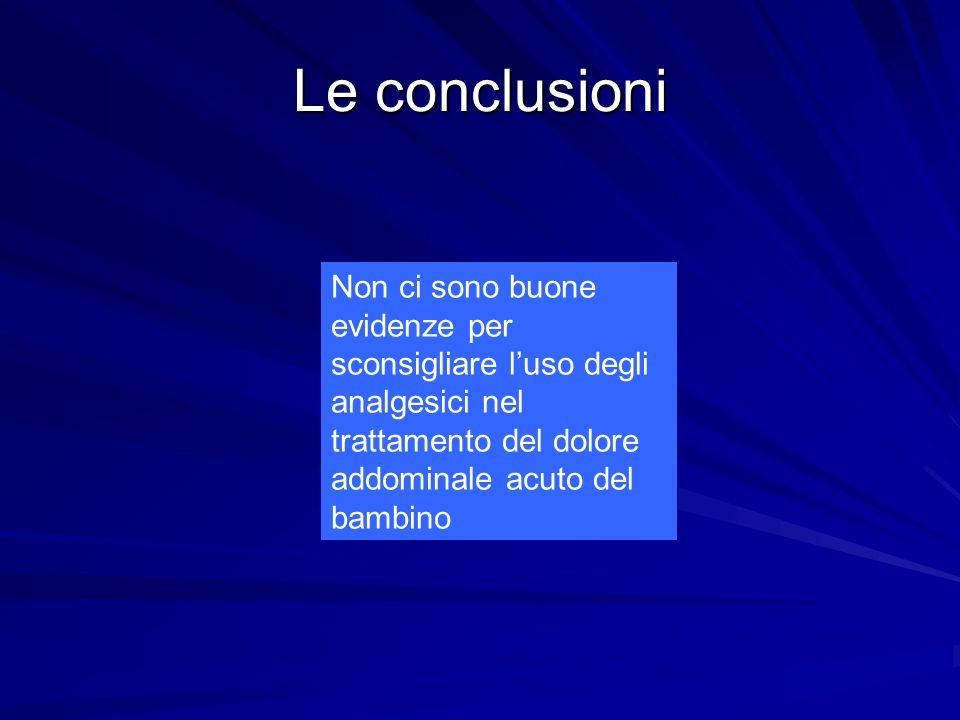 Le conclusioni Non ci sono buone evidenze per sconsigliare l'uso degli analgesici nel trattamento del dolore addominale acuto del bambino.