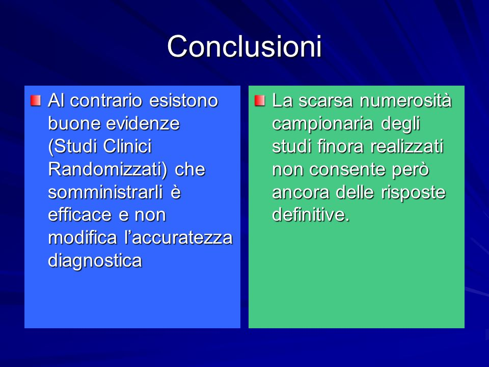 Conclusioni Al contrario esistono buone evidenze (Studi Clinici Randomizzati) che somministrarli è efficace e non modifica l'accuratezza diagnostica.