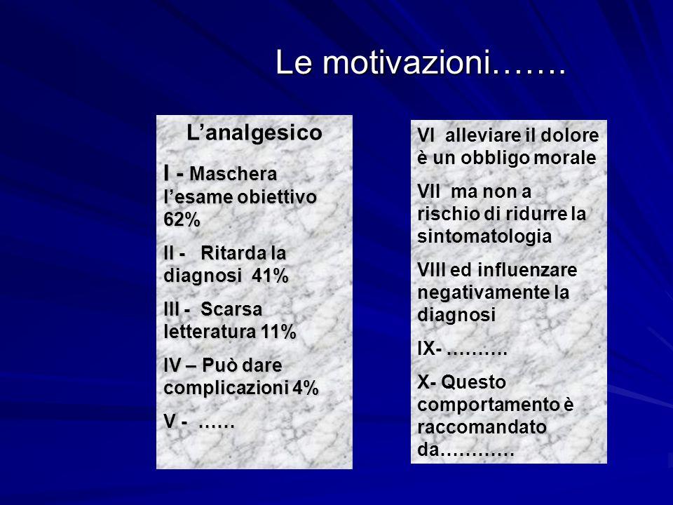 Le motivazioni……. L'analgesico I - Maschera l'esame obiettivo 62%