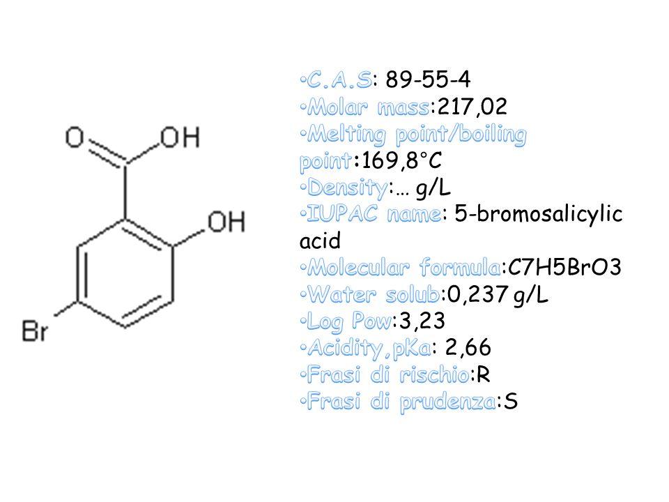 C.A.S: 89-55-4 Molar mass:217,02. Melting point/boiling point:169,8°C. Density:… g/L. IUPAC name: 5-bromosalicylic acid.