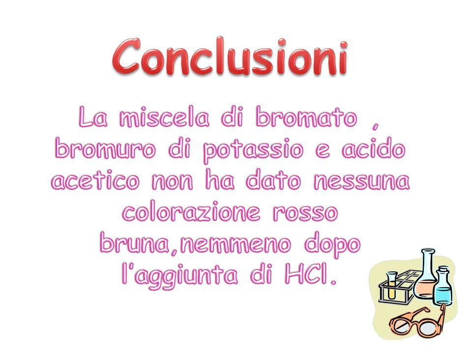 Conclusioni La miscela di bromato , bromuro di potassio e acido acetico non ha dato nessuna colorazione rosso bruna,nemmeno dopo l'aggiunta di HCl.
