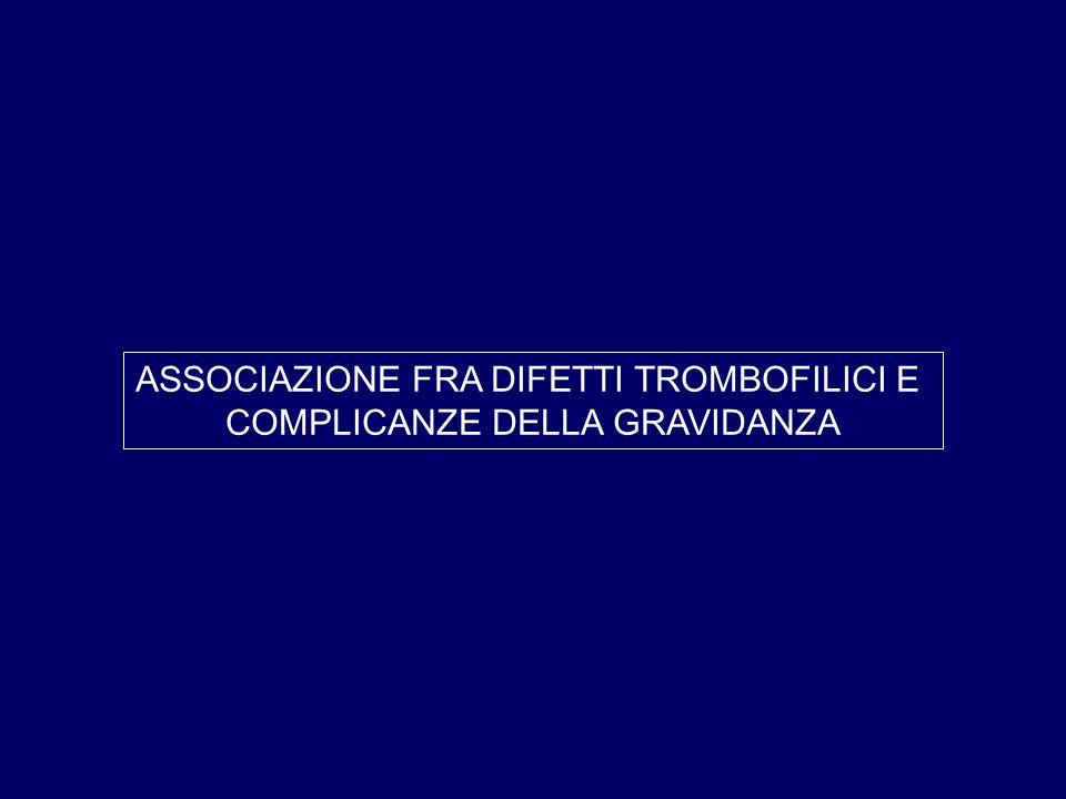 ASSOCIAZIONE FRA DIFETTI TROMBOFILICI E COMPLICANZE DELLA GRAVIDANZA