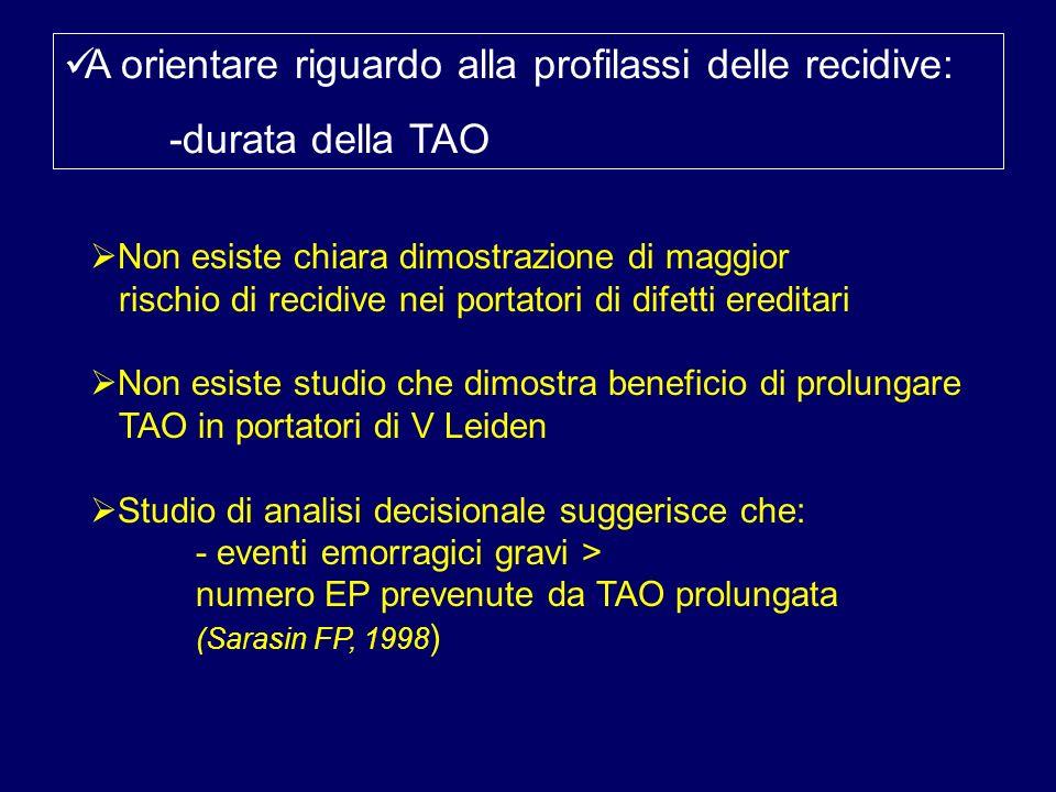A orientare riguardo alla profilassi delle recidive: -durata della TAO