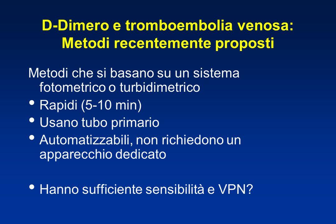 D-Dimero e tromboembolia venosa: Metodi recentemente proposti