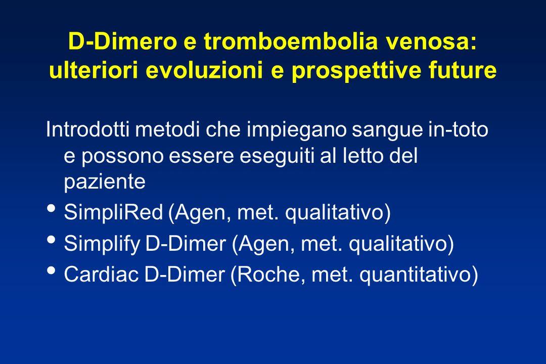 D-Dimero e tromboembolia venosa: ulteriori evoluzioni e prospettive future