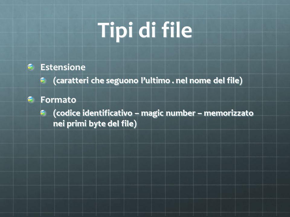 Tipi di file Estensione Formato