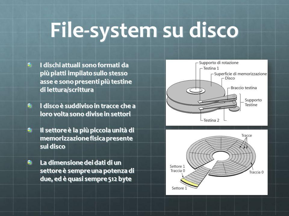 File-system su disco I dischi attuali sono formati da più piatti impilato sullo stesso asse e sono presenti più testine di lettura/scrittura.