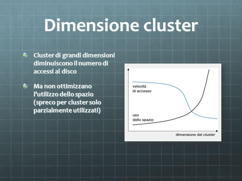 Dimensione cluster Cluster di grandi dimensioni diminuiscono il numero di accessi al disco.