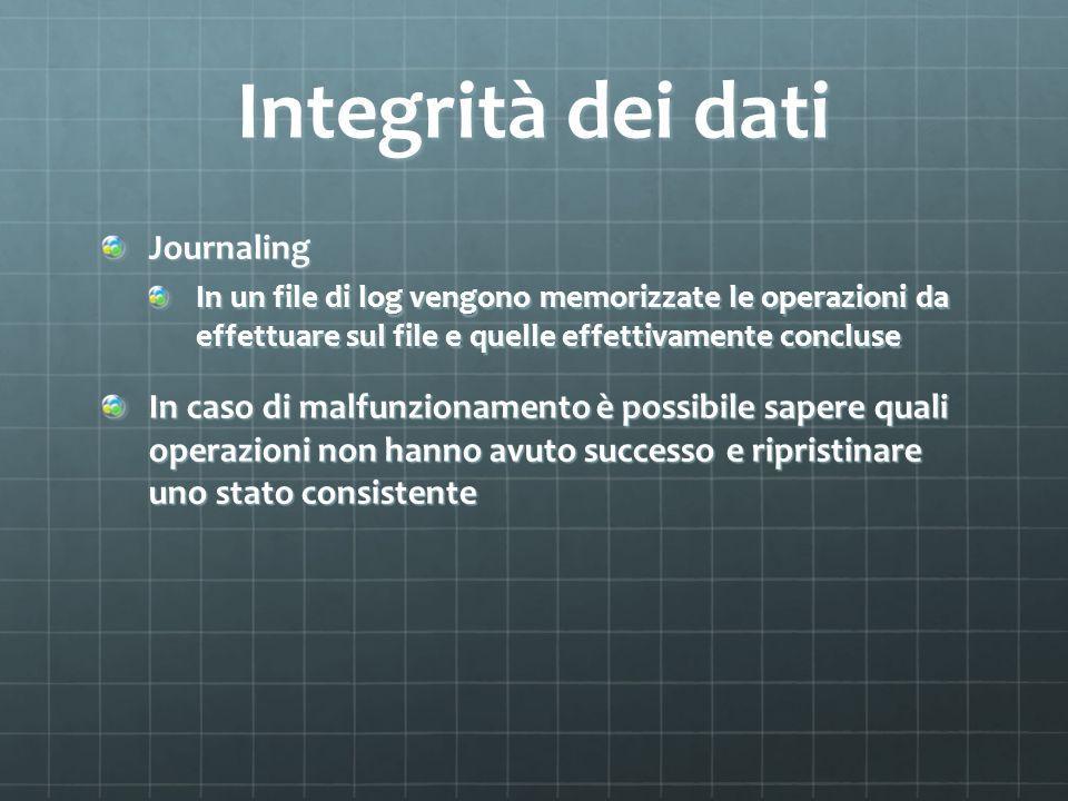 Integrità dei dati Journaling
