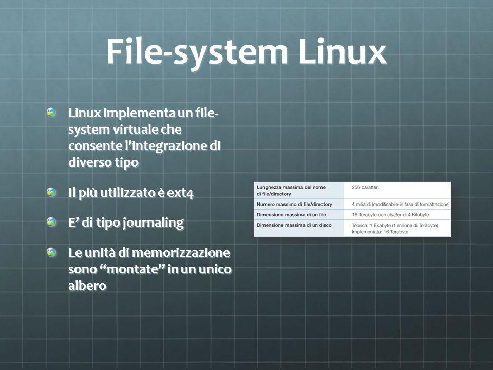 File-system Linux Linux implementa un file- system virtuale che consente l'integrazione di diverso tipo.