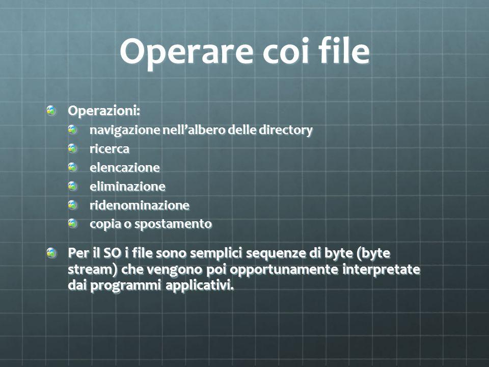 Operare coi file Operazioni: