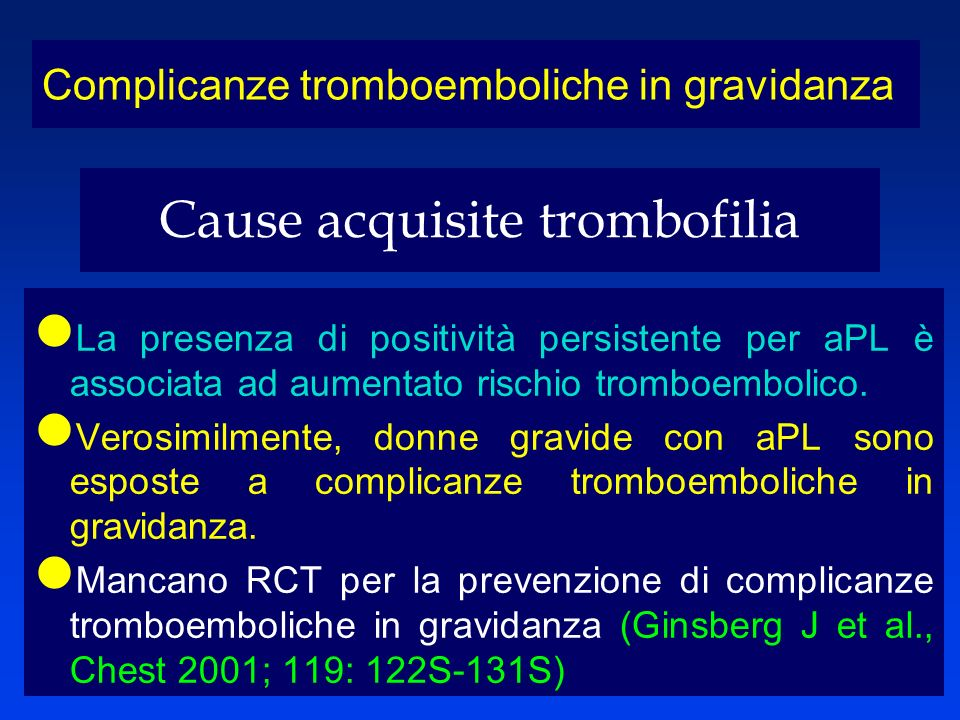 Cause acquisite trombofilia