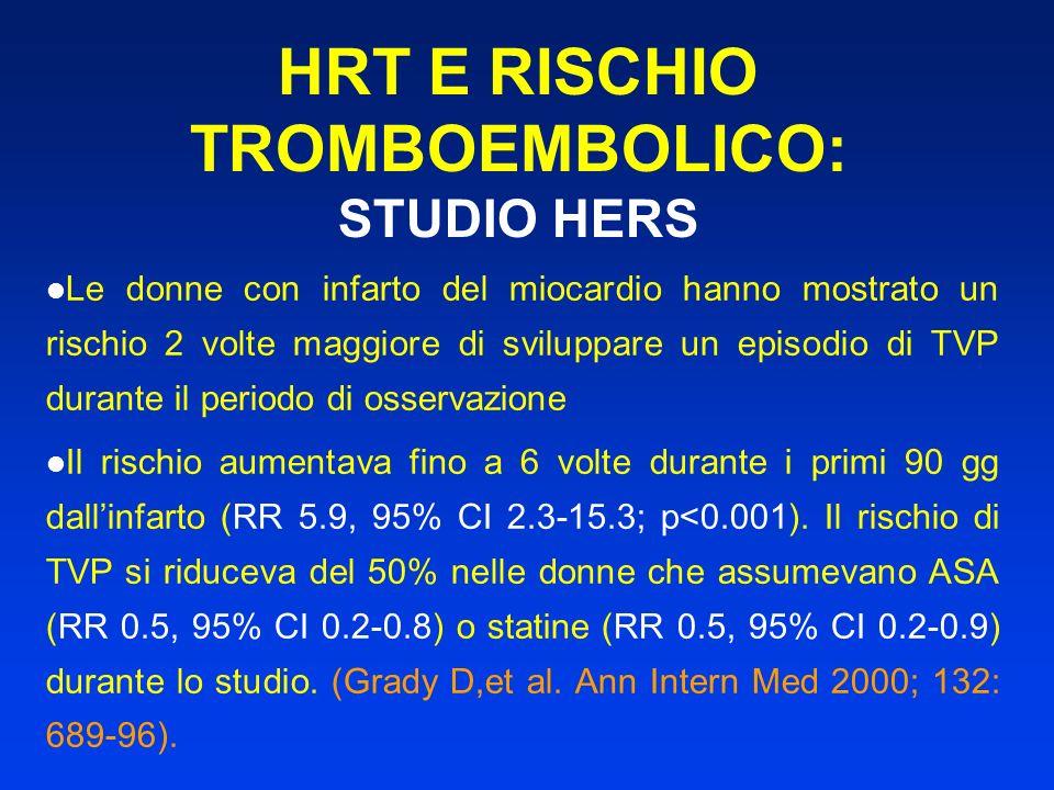HRT E RISCHIO TROMBOEMBOLICO: STUDIO HERS