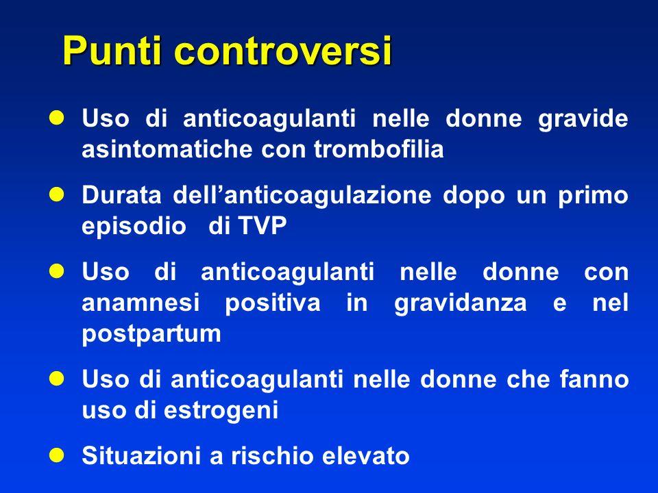Punti controversi Uso di anticoagulanti nelle donne gravide asintomatiche con trombofilia.