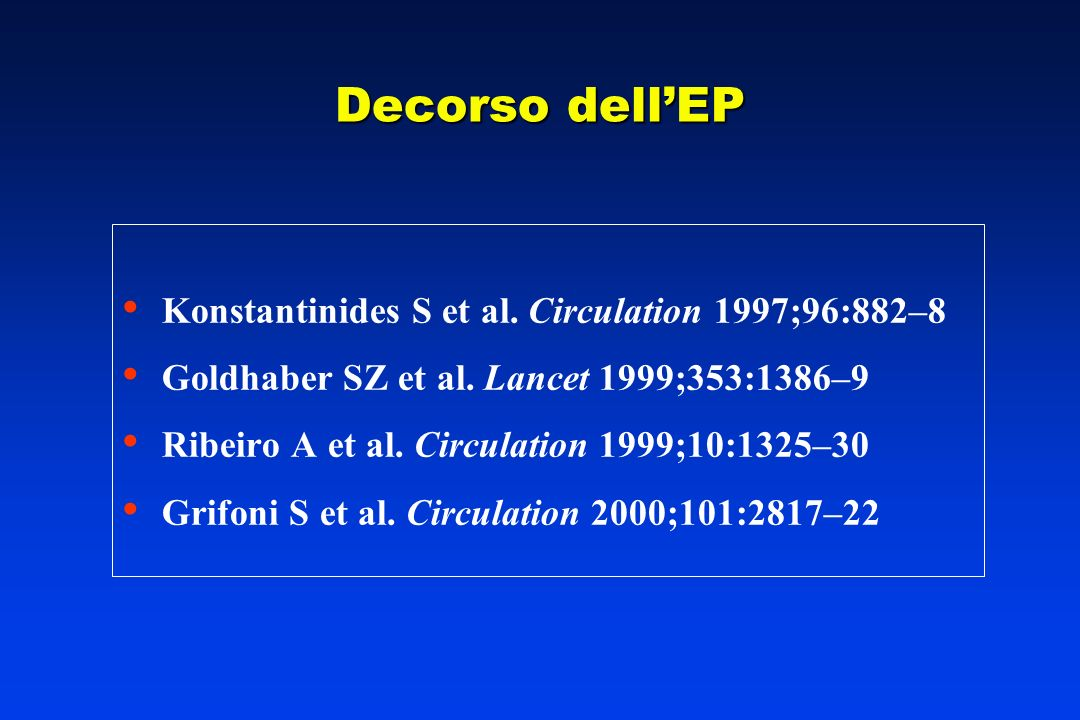 Decorso dell'EP Konstantinides S et al. Circulation 1997;96:882–8