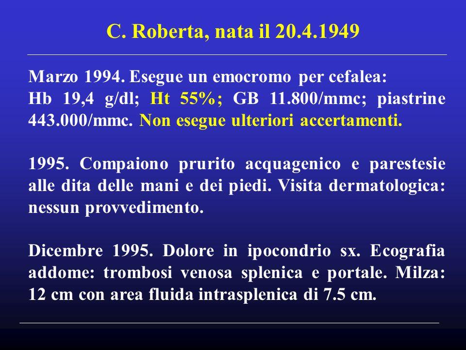 C. Roberta, nata il 20.4.1949 Marzo 1994. Esegue un emocromo per cefalea: