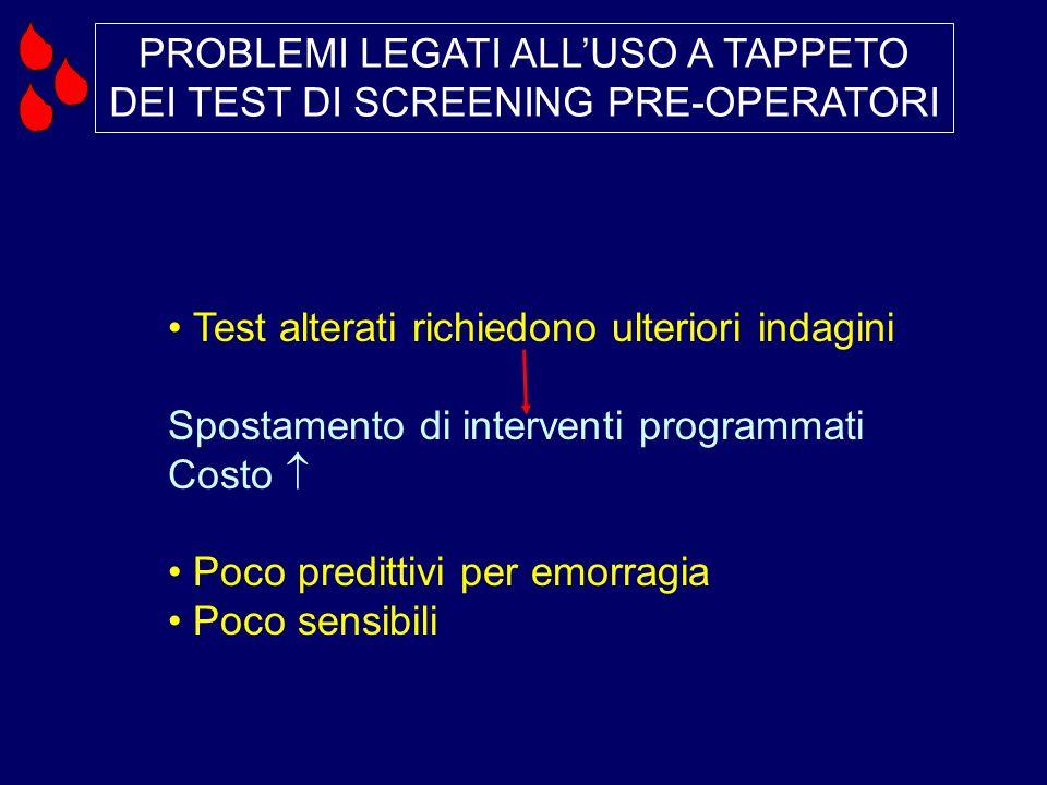 PROBLEMI LEGATI ALL'USO A TAPPETO DEI TEST DI SCREENING PRE-OPERATORI