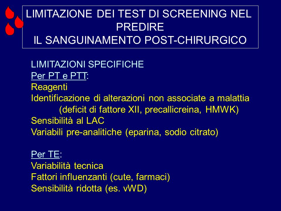 LIMITAZIONE DEI TEST DI SCREENING NEL