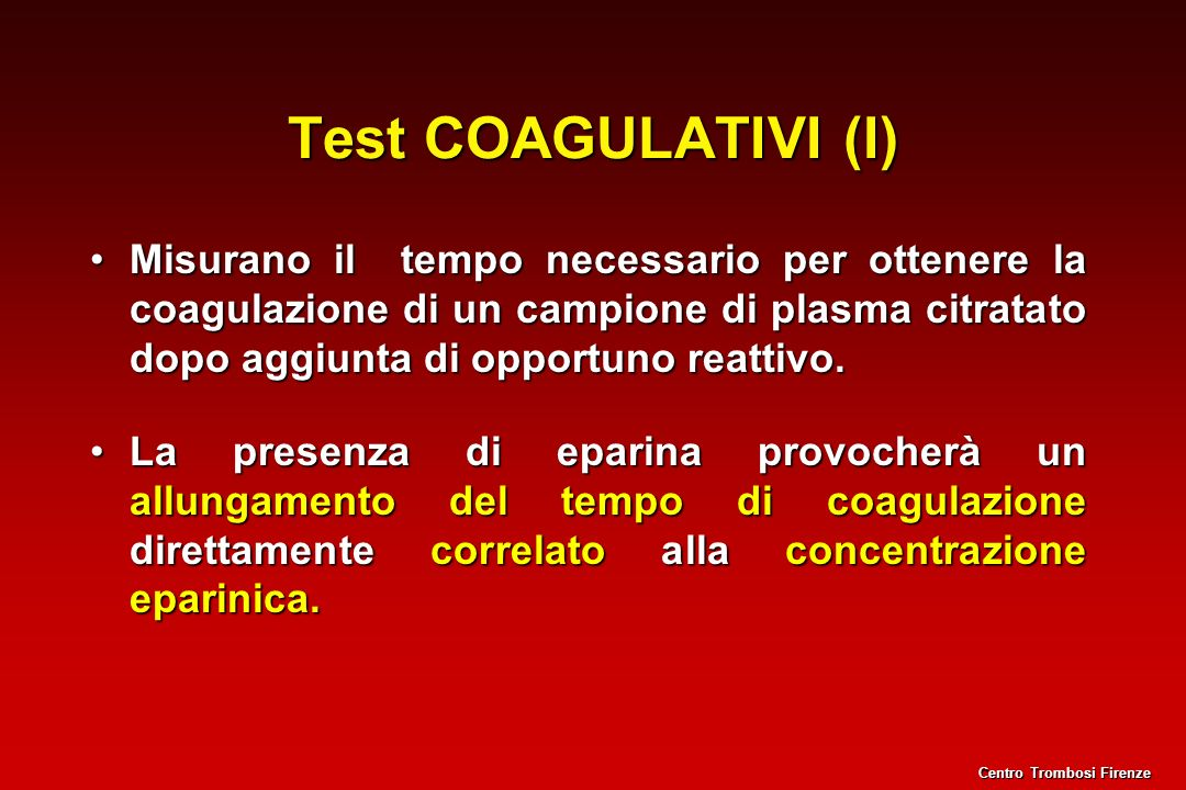 Test COAGULATIVI (I)