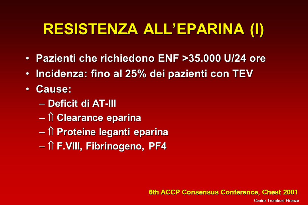 RESISTENZA ALL'EPARINA (I)