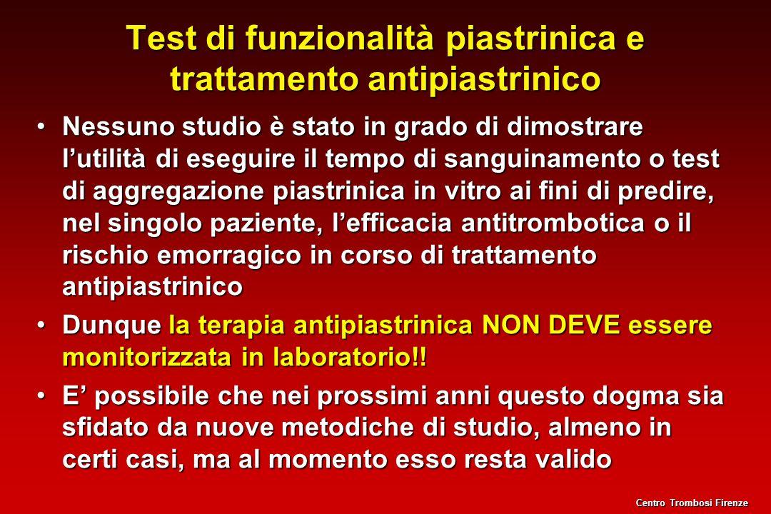 Test di funzionalità piastrinica e trattamento antipiastrinico