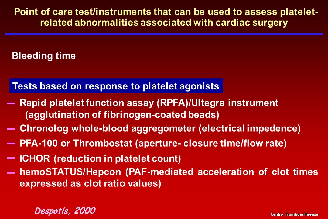 Tests based on response to platelet agonists