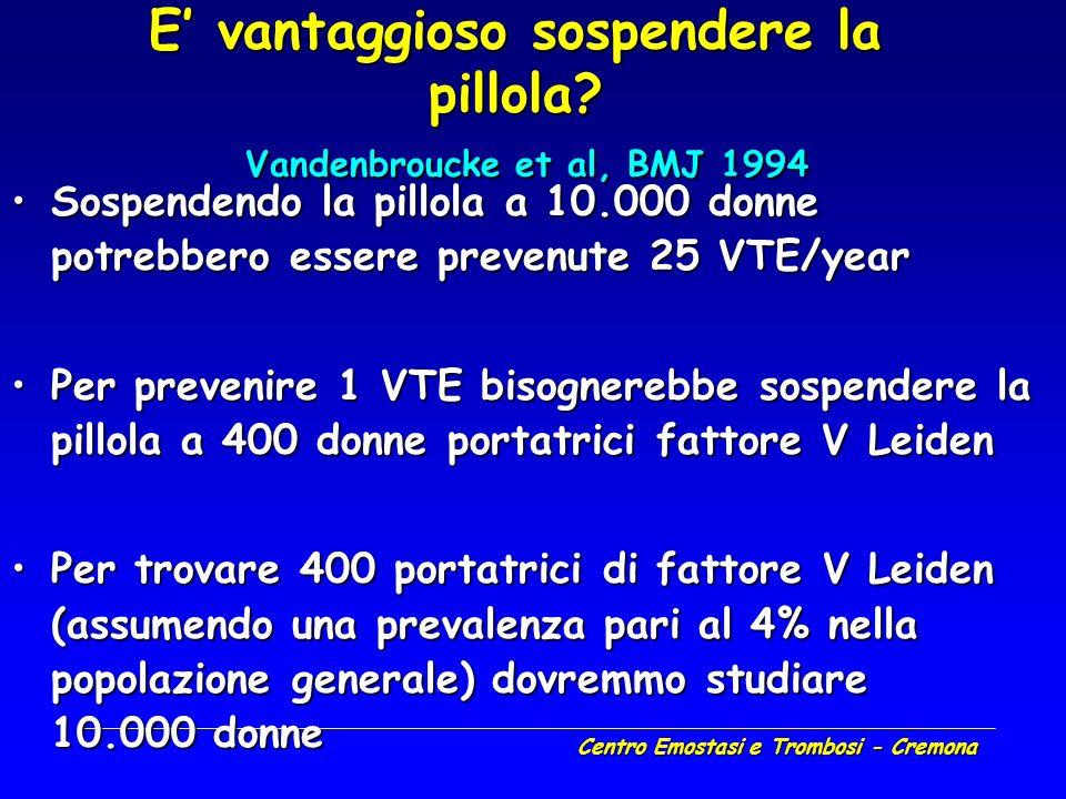 E' vantaggioso sospendere la pillola Vandenbroucke et al, BMJ 1994