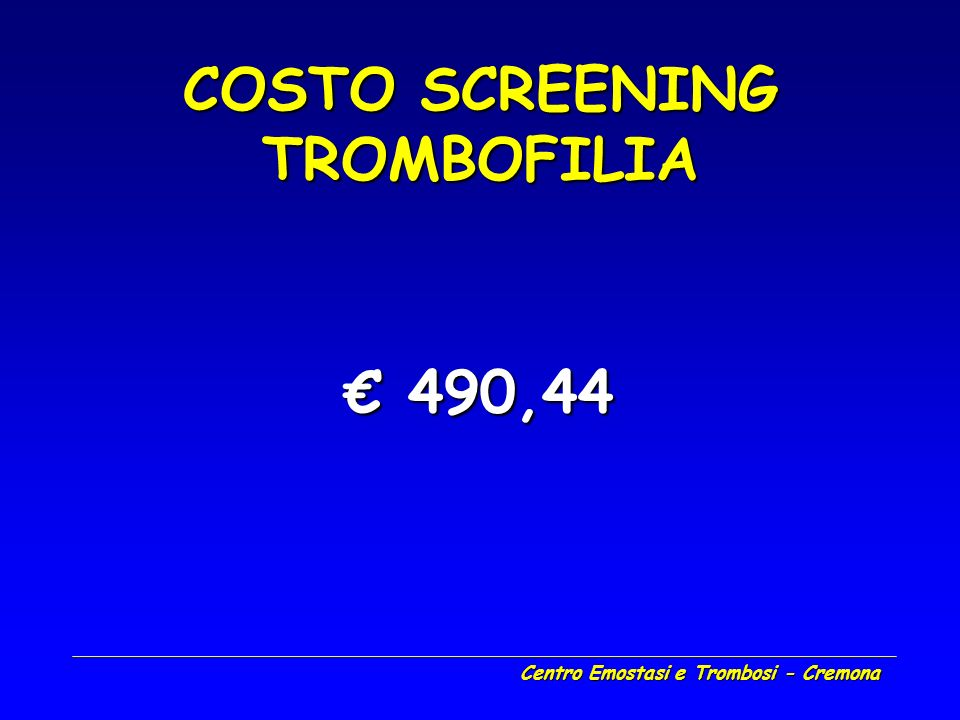 COSTO SCREENING TROMBOFILIA