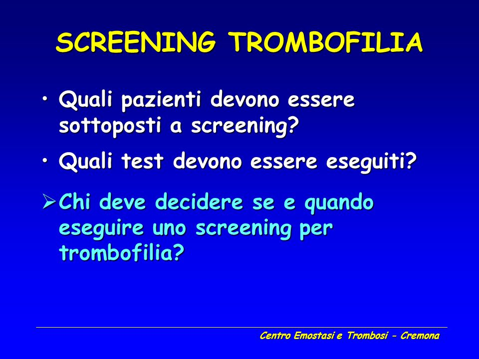 SCREENING TROMBOFILIA